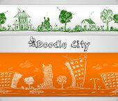 City doodle seamless border