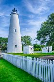 stock photo of coast guard  - The Ocracoke Lighthouse and Keeper - JPG