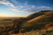 Stunning Autumn Sunrise Over Countryside Landscape