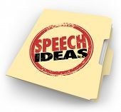 Speech Ideas words in a red round stamp on a manila folder to illustrate tips, advice, suggestions a