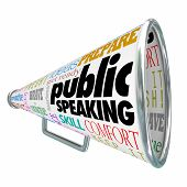 Public Speaking words on a 3d bullhorn or megaphone offering advice, tips or expert training on deli