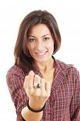 Woman Call With Her Finger On White Background