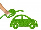 eco car and  gasoline fuel on white background