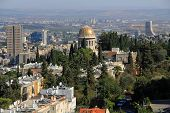 View of Haifa Israel with Nuclear Plant and Shrine of Bab