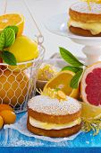 pic of curd  - Citrus Victoria Sponge Cake with Lemon Curd and variety of fresh citrus fruits - JPG