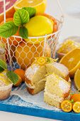 image of sponge-cake  - Citrus Victoria Sponge Cake with Lemon Curd and variety of fresh citrus fruits - JPG