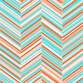 Colorful chevron geometric seamless pattern in blue and red, vector