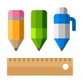 Drafting Tools on White Background. School Equipment Icons - Pen, Pencils and Ruler. Flat Vector Sty