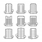 Apartment building icons Dwelling houses / linear flat style