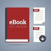 Electronic Book Template With Documents Icons.