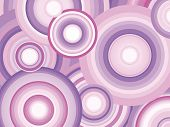 Abstract Retro Vector Background with Circles. Decorative background with pink and purple toned conc