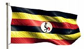 Uganda National Flag Isolated 3D White Background