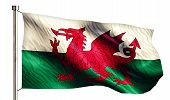 Wales National Flag Isolated 3D White Background