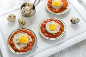 Omelette Of Quail Eggs With Tomato Sauce