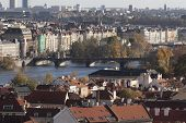 The view of the autumn Prague