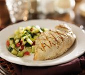grilled chicken with cucumber salad