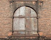 The Old Window With Red Brick Wall