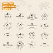 image of food logo  - Set of vintage style elements for labels and badges for meat - JPG