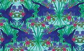 Seamless pattern with hyacinyh macaw parrots. Hand drawn vector.