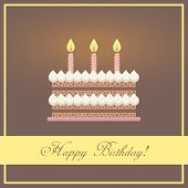 Flat Design Happy Birthday Greeting Card with Chocolate Cake, Whipped Cream and Pink Candles Placed