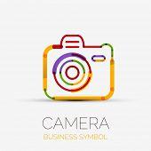 colorful camera icon company logo design, business symbol concept, minimal line design