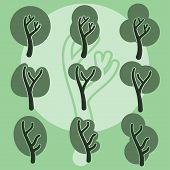 Set of cute doodle trees, original cartoon tree doodles, vector