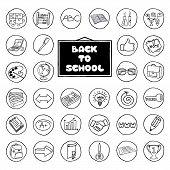 Hand drawn school buttons set