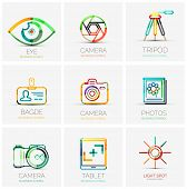 collection of 9 company logos, business concepts. Human eye shutter tripod badge name tag camera photo gallery tablet screen flash light spot