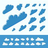 Cloud shapes collection. 3d vector illustration. Abstract design.