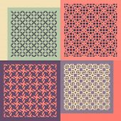 Set of four seamless patterns. Vintage geometric ornaments. Can be used for wallpaper, pattern fills