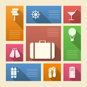 Colored vector icons for vacation with place for text