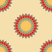 Round ornament seamless pattern, spirograph background