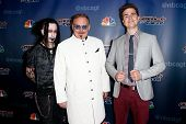 NEW YORK-AUG 20: (L-R) Dan Sperry, Kevin James & Adam Trent (The Illusionists) attend the red carpet for 'America's Got Talent' Season 9 at Radio City Music Hall on August 20, 2014 in New York City.