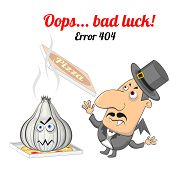 picture of not found  - Concept of not found error message with vampire and garlic - JPG
