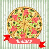 Retro Poster With Italian Pizza