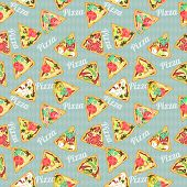 Seamless Texture With Slices Of Pizza