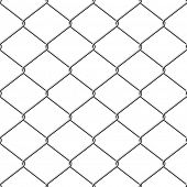 Realistic wire chain-link fence seamless background.