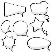 Cartoon sketchy speech and thought bubbles isolated on white background.