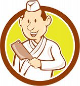 Japanese Chef Cook Meat Cleaver Circle Cartoon