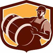 Bartender Carrying Beer Barrel Shield Retro