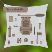 foto of survival  - Travel kit with backpack and other survival and camping stuff - JPG