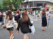 city people crowd on business walking street blur motion