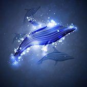 Neon dolphin, abstract futuristic strip