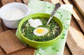 pic of sorrel  - Cold summer sorrel soup with eggs and sour cream - JPG