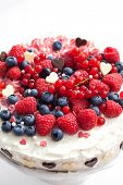 Homemade Creamy Cake Decorated With Fresh Berries