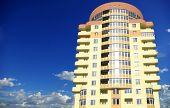 A modern apartments building on sky