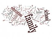 High resolution concept or conceptual family education abstract word cloud on white background
