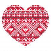 Traditional Ukrainian red folk art heart pattern
