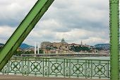 View Of Liberty Bridge And Elizabeth Bridge Over The Danube Budapest With Buda Castle In Background
