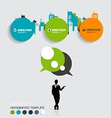Modern infographics template style. Businessman with bubble speech and building background. Vector i